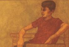 """صورة """"فتى يجلس على الكرسي"""" لوحة للفنان لؤي كيالي"""