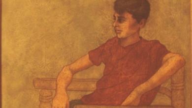 """""""فتى يجلس على الكرسي"""" لوحة للفنان لؤي كيالي"""