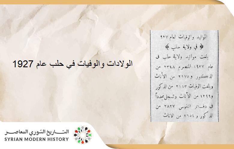 إحصاء لعدد المواليد والوفيات في حلب عام 1927
