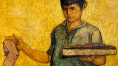 بائع الجوارب 2 لوحة للفنان لؤي كيالي