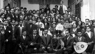 Family photo taken at the Bar Mitzvah of Fauzi Abu-Rish Mizrahi , Damascus, Syria, 1930's