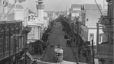 دمشق في الثلاثينيات - جامع دك الباب وترامواي المهاجرين
