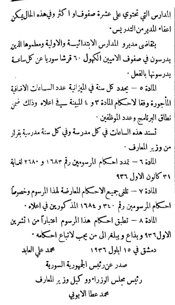مرسوم التعويض الشهري للمدرسين في سورية 1936