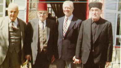 الرئيس كارتر خلال زيارته في دار صفر بي يوسف اسحق عديل بدر الدين الشلاح في مرج السلطان