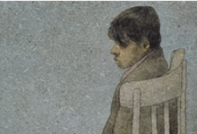 صورة الصبي الجالس على الكرسي .. لوحة للفنان لؤي كيالي