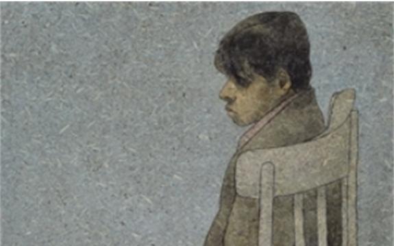 الصبي الجالس على الكرسي .. لوحة للفنان لؤي كيالي