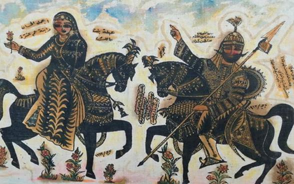 لوحة عنتر وعبلة للفنان ناجي العبيد