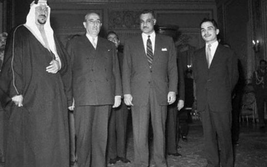 صورة اجتماع القادة العرب في القاهرة عام 1957 (1)