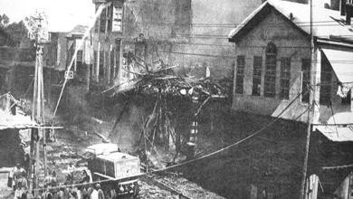 دمشق 1928 - صورة لحريق السنجقدار الضخم