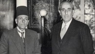 صورة دمشق 1957- الصحفي محمد علي الطاهر والرئيس شكري القوتلي
