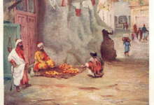 دمشق 1908 – لوحة فنية لشجرة الدلبة الضخمة في سوق السروجية (5)