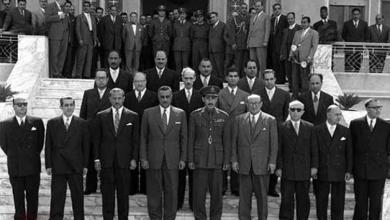 دمشق 1958- حسن جبارة مع جمال عبد الناصر على مدخل قصر الضيافة
