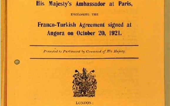 صورة اتفاقية ترسيم الحدود السورية – التركية عام 1921
