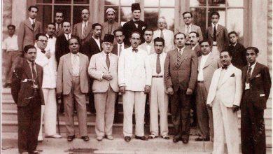 صورة وزير المالية شكري القوتلي مع مجموعة من الإعلاميين السوريين عام 1937
