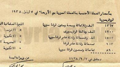 صورة نشرة أسعار العملات الأجنبية في سورية 1938 – الليرة الذهب الانكليزية تساوي 15 ليرة سورية
