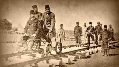 صورة والي سورية ناظم باشا متفقداً الخط الحديدي الحجازي وهو في طور الإنجازعام 1900م