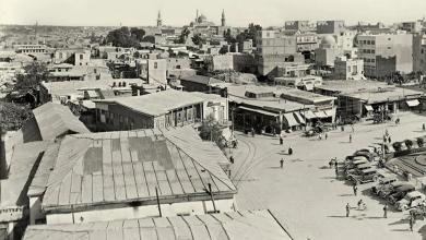 دمشق 1942 - ساحة المرجة ومحلة السنجقدار  من الغرب الى الشرق