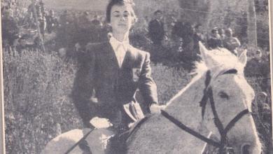 صورة الفارسة عايدة الشرباتي .. أول فارسة سورية شاركات بمسابقات دولية لركوب الخيل عام 1959