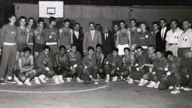 دمشق 1960- لقاء بين نادي الغوطة والنادي الرياضي بطل بيروت تحت رعاية عبد الحميد السراج