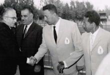 صورة دمشق 1962-  ناظم القدسي في افتتاح الملتقى الدولى لألعاب القوى لدول العراق والاردن وسورية