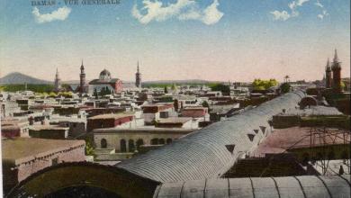 دمشق - السقف المعدني لسوق مدحت باشا ومئذنتي مسجد القلعي وهشام