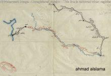 صورة من الأرشيف العثماني 1890 – خريطة للسكة الحديدية المقترحة من حلب الى بغداد