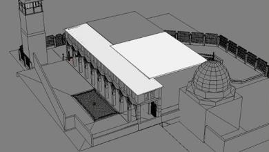 صورة رسم هندسي للمدرسة الشامية البرانية الكبرى (3)