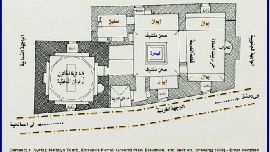 صورة دمشق 1908 – المدرسة والتربة الحافظية .. مخطط توضيحي (2)