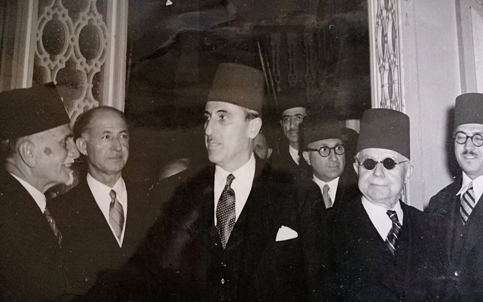 دمشق 1946  -  شكري القوتلي وهاشم الأتاسي- احتفال الكتلة الوطنية في عيد الجلاء