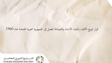 قرار توزيع الأطباء وأطباء الأسنان والصيادلة للعمل في الجمهورية العربية المتحدة عام 1960
