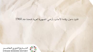 قانون دخول وإقامة الأجانب بأراضي الجمهورية العربية المتحدة عام 1960
