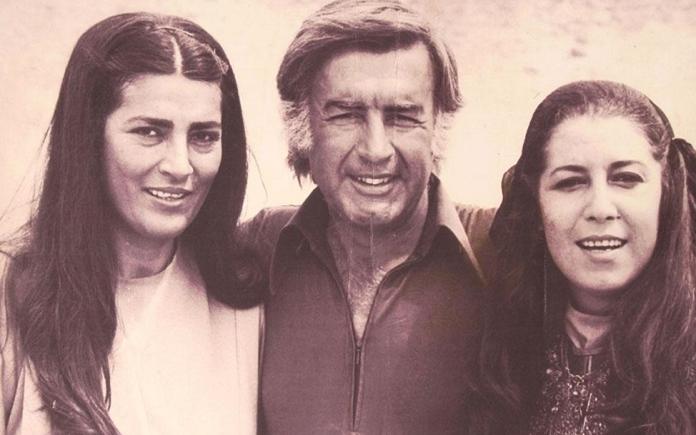 مصطفى العقاد مع منى واصف خلال تصوير فيلم الرسالة عام 1976