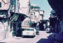 صورة دمشق 1983- سوق ساروجة ومئذنة مسجد الورد
