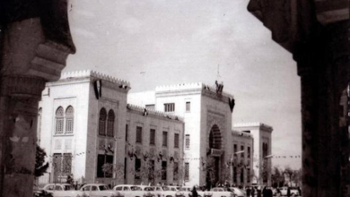 دمشق 1955 – شارع النصر ومبنى المشيرية العسكرية.. مبنى القصر العدلي (11)