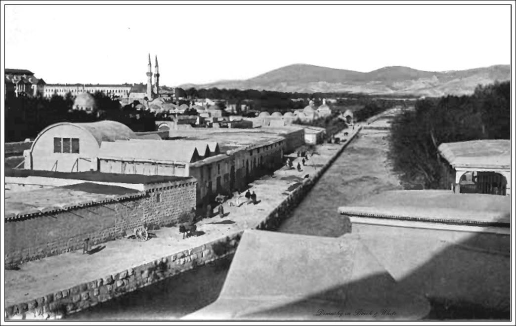 دمشق - نهر بردى ومحطة عربات الديليجانس وبعده التكية السليمانية