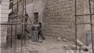 دمشق – المدرسة الشامية.. لواجهة الغربية المتاخمة للتربة العلائية أثناء الترميم (31)
