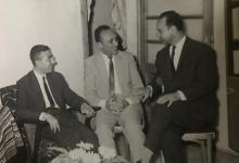 صورة فاضل السباعي مع الأديبين عبد الرحمن البيك وجورج سالم