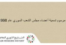صورة مرسوم تسمية أعضاء مجلس الشعب السوري عام 1998م