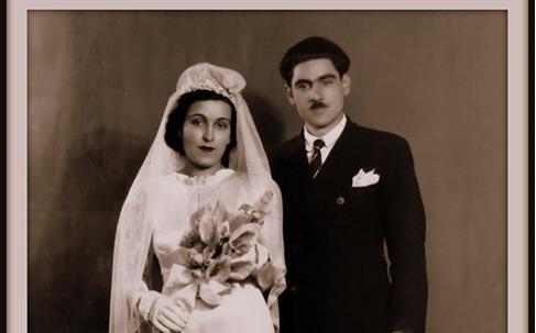 صورة الأديب سلامة عبيد وزوجته أمون قائد بيهعام 1945