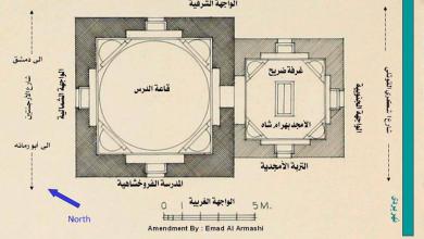 صورة دمشق – مخطط  توضيحي للتربة الأمجدية والمدرسة الفروخشاهية 1908 (8)