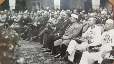 دمشق 1940 - الرئيس تاج الدين الحسني في مدرسة الآباء العازاريين