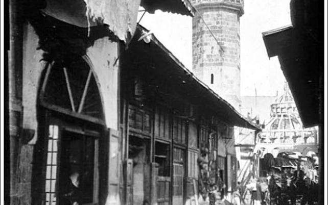 دمشق 1911 - الشارع المستقيم والمئذنة العمرية أو البيضاء