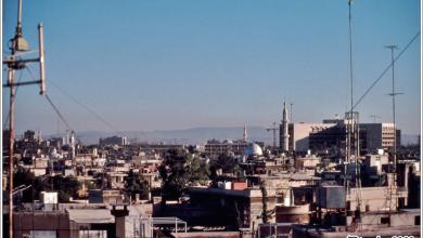 صورة دمشـــق 1989 – صورة للمدينة ويظهر فندق المريديان في العمق