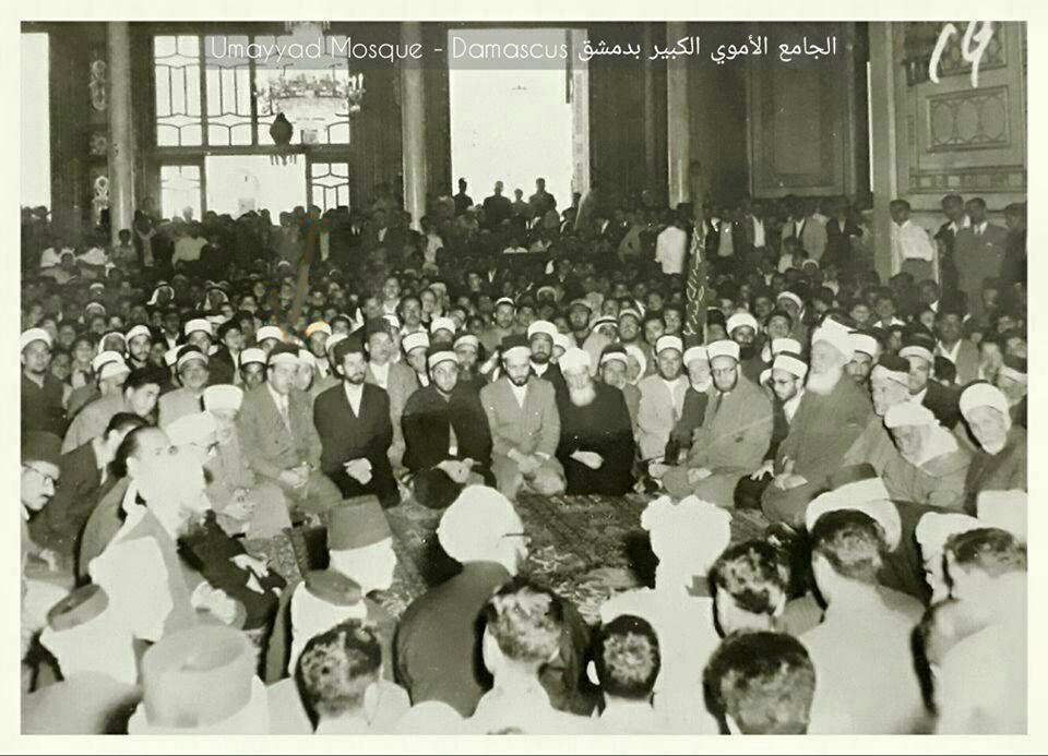المسجد الأموي بدمشق 1956 - اجتماعُ كبار علماء بلاد الشام لنصرة الشعب الجزائري