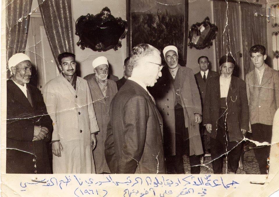 الرئيس ناظم القدسي يستقبل شيوخ عشائر كردية عام 1961