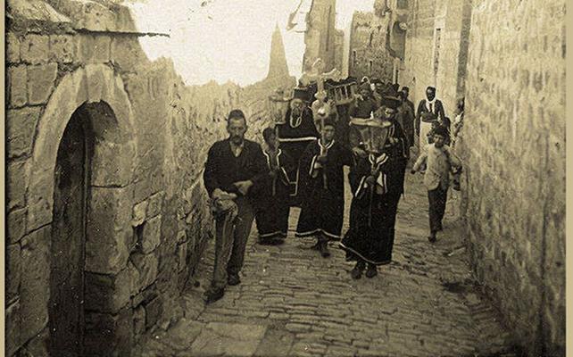 صورة دمشق 1900- جنازة مسيحية في باب توما