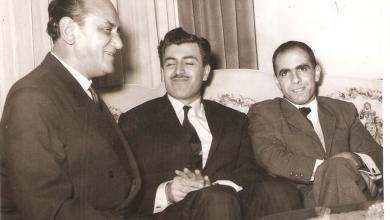 صورة مروان حبش وإبراهيم ماخوس  مع سفير يوغوسلافيا في سورية عام 1966