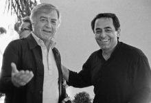 مصطفى العقاد في استقبال الموسيقار ملحم بركات في دمشق 1991