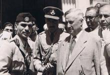 صورة سعيد الغزي رئيس الحكومة السورية والملك حسين بن طلال