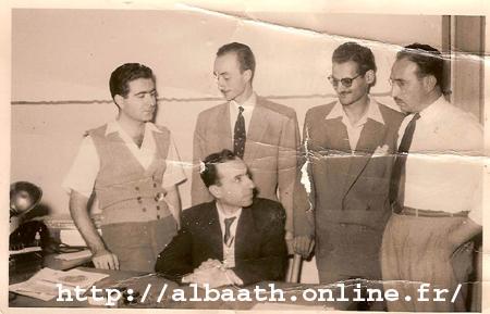 دمشق في الأربعينيات - ميشيل عفلق في مكتب حزب البعث